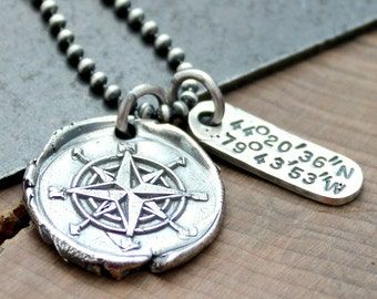 Personalized Coordinates Compass Necklace, Custom Location Necklace, Longitude Latitude Necklace, Fine Silver Compass Necklace, Rustic Mens