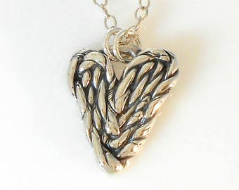 Fine Silver Twisted Heart Necklace