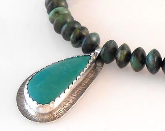 Teardrop Turquoise Bezel Set Pendant with Turquoise Beads Pendant