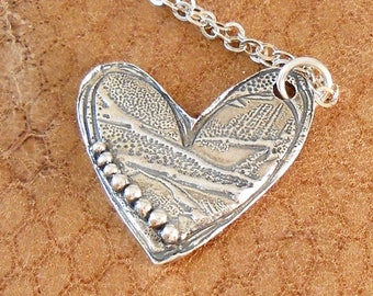 Fine Silver Textured Heart with Ball Accent Necklace