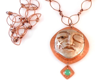 Strong Face in Polymer Clay and Copper with Handmade Copper Chain