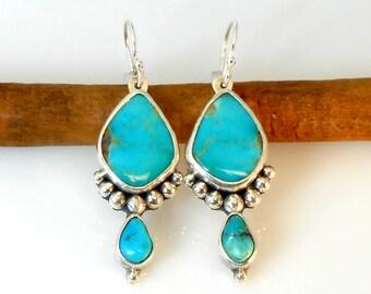 Kingman Turquoise Silver Ball Earrings
