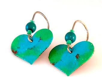 Green and Blue Painted Copper Heart and Tagua Nut Earrings