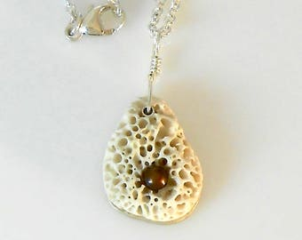 Sand Dollar Freshwater Pearl and Sterling Silver Necklace