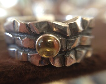 Citrine Cabochon Wide Band Chunky Ring