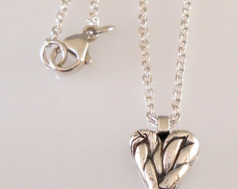 Fine Silver Twisted Heart on Sterling Chain Necklace