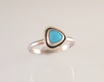 Triangle Sterling Silver and Turquoise Stackable Ring