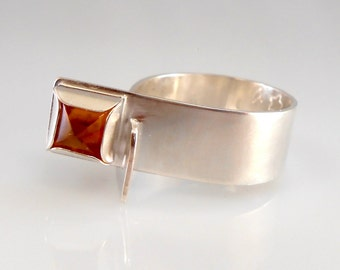 Square Dark Citrine Bullet Cab Sterling Silver Statement Ring
