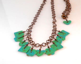 Green and Blue Painted Copper Dangle Necklace
