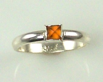 Citrine Bullet Cab Sterling Silver Ring by Alone Star Jewelry