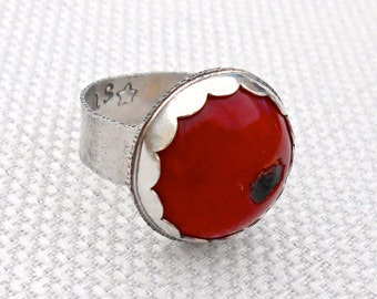 Red Coral Cabochon Sterling Silver Ring