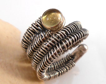 Citrine Wire Wrapped Woven Sterling Silver Ring
