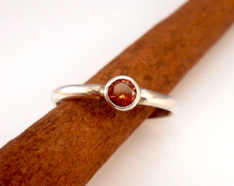 Faceted Hessonite Garnet (Cinnamon Stone) Solitaire Stackable Ring