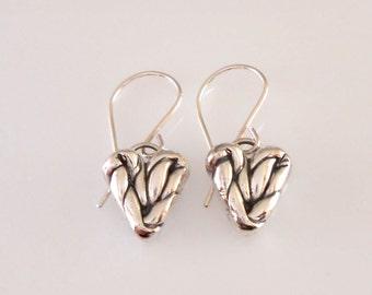 Fine Silver Twisted Heart Earrings