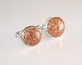 Etched Copper Domed Sterling Silver Twisted Wire Rings