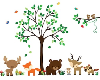 Tree Decal, Woodlands Fabric Decal, REUSABLE Non-toxic, Eco-friendly Decals, N173A