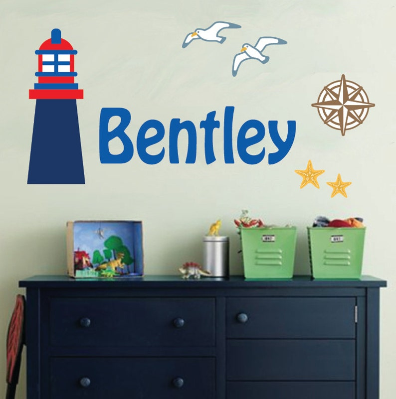 814 REUSABLE Childrens Monogram Nautical Fabric Wall Decal