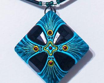 Mystic Symbol Vintage Glass Pendant Bugle Bead Necklace