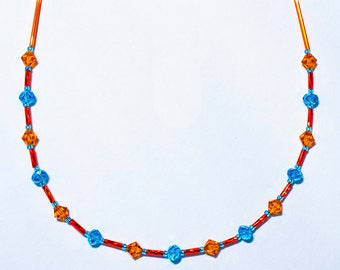 Swarovski Tangerine and Cool Blue Bead and Bugles Necklace