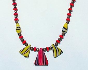 Black Orange Red and Yellow Vintage Chevron Tribal Necklace