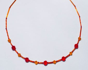 Swarovski Orange and Red Brilliant Bugles Necklace