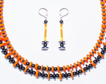 Graduated Double Heishi Hematite Disc and Ball Necklace Earrings Set