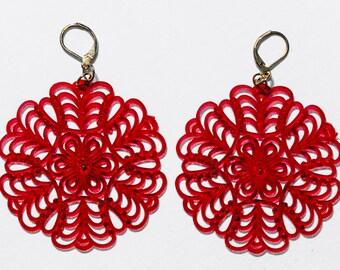 Vintage Dark Red Lattice Earrings