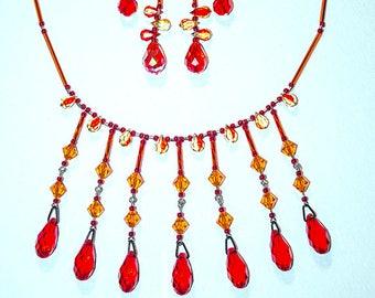 Swarovski 7 Drop Orange Yellow Necklace Earrings Set