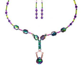 Swarovski Elektra Lime Copper Necklace Earrings Set