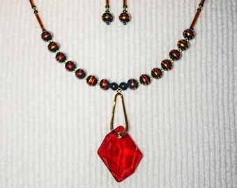 Swarovski  Red Melon Pendant Necklace Earring Set