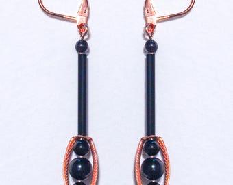 Copper Jet Triplet Earrings