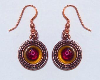 Dark Copper Red Glass Cone Earrings