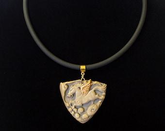 Golden Winged Pegasus White Bronze Pendant Necklace