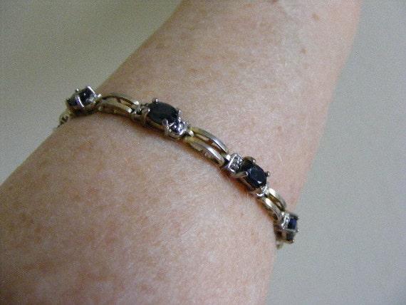 Elegant Black Sapphire Bracelet in Sterling Silver