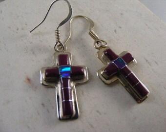 Vintage Southwest Inlaid Purple Cross Earrings......  Lot 4799