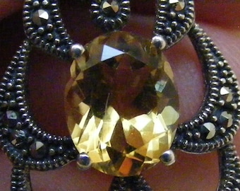 Vintage  Genuine Golden Citrine and Marcasite Pendant in Sterling Silver.....  Lot 5746