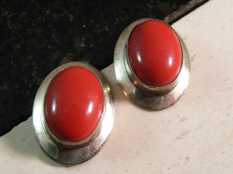 Lot 5472 Vintage Faux Coral Pierced Earrings in Sterling Silver....