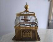 Vintage Hendryx Brass Wire Bird Cage Antique Collectible Decorative Bird House Cottage Chic Garden Decor