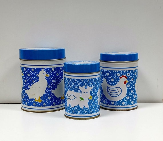 Nesting Storage Tins Blue /& White Canadian Geese Set of 3 Nesting Tin Canisters Country Cottage Kitchen Storage Farmhouse Canister Set