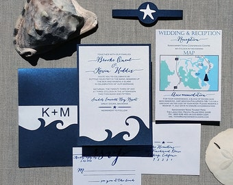 Beach Wedding Invitation - Navy Blue - Destination Wedding Invitation  - SAMPLE -