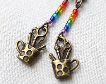 Artist Earrings Rainbow Paintbrush Scissors Pencil eco friendly gift for Teacher Painter Back to School steampunk lgbt, mothers day gift mom