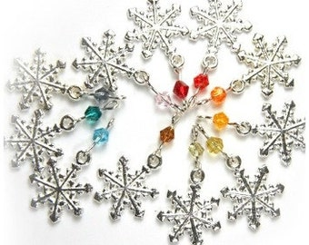 ON VACATION, Rainbow Snowflake Earrings, Swarovski crystals Many Colors to Choose from, Winter Birthday gift for her