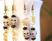 Fun Halloween Earrings Glow in Dark Skull Earrings Halloween jewelry Zombie Head Worms Day of the Dead eco friendly gift industrial jewelry