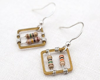 Square Geometric Earrings Wearable Tech Computer Earrings Techie Jewelry Petite Beige Resistor Electronic Eco Friendly, mothers day gift mom