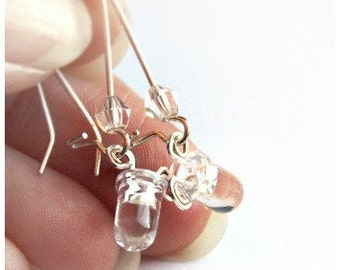 ON VACATION, Wearable Tech Tiny Clear LED Earrings Computer Earring Sterling Silver Earrings Eco Friendly Technology Electronic