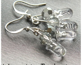 ON VACATION, Computer Earring Tiny Clear LED Cluster Wearable Tech Recycled Electronic Techno Sterling Silver unique eco friendly