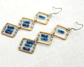 ON VACATION, Geometric Computer Earrings Tiny Blue Resistors Wearable Tech Recycled Electronic Techie unique eco friendly