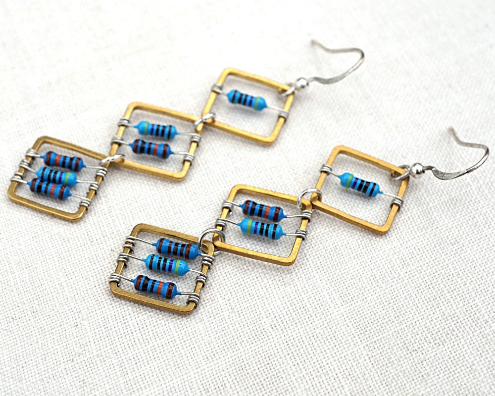 Gift For Him Or Her Techie Jewelry Blue Tiny Resistors Etsy Recycled Circuit Board Earrings Steampunk Vintage Wire Wrapped Zoom