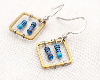 ON VACATION, Geometric Square Computer Earrings Techie Wearable Tech Blue Petite Resistor Recycled Electronic unique eco friendly