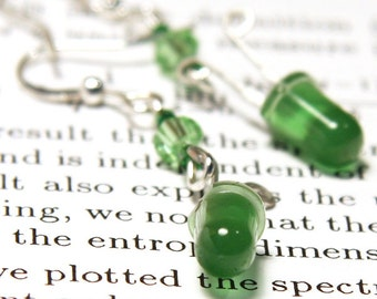 ON VACATION, Bright Green Wearable Tech LED Earrings Diode Recycled Electronic Computer Jewelry Long Chain unique eco friendly